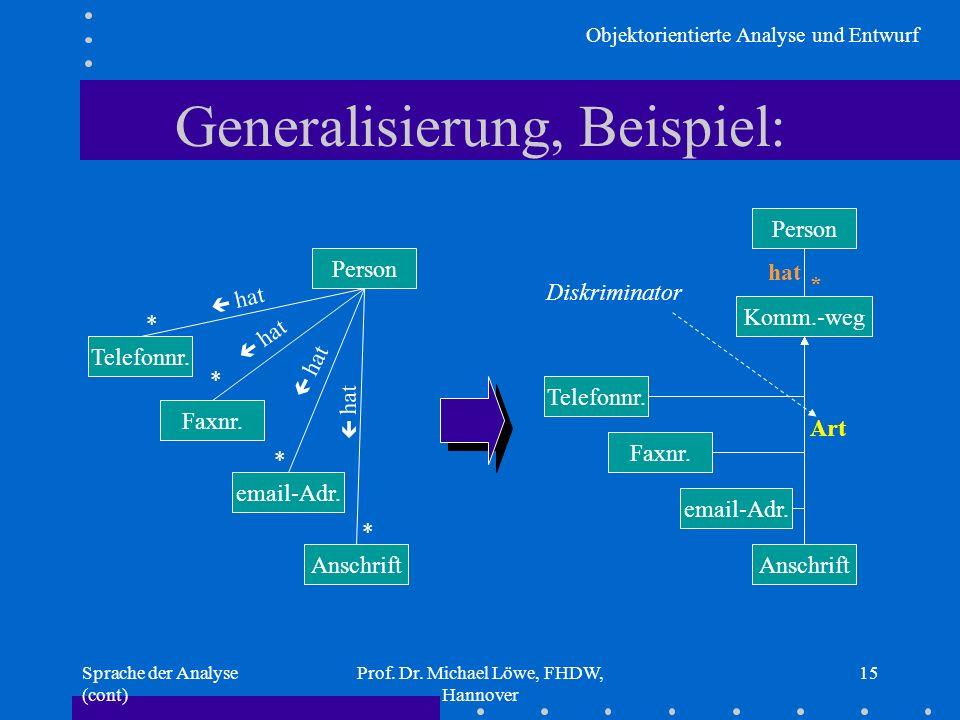 Generalisierung, Beispiel: