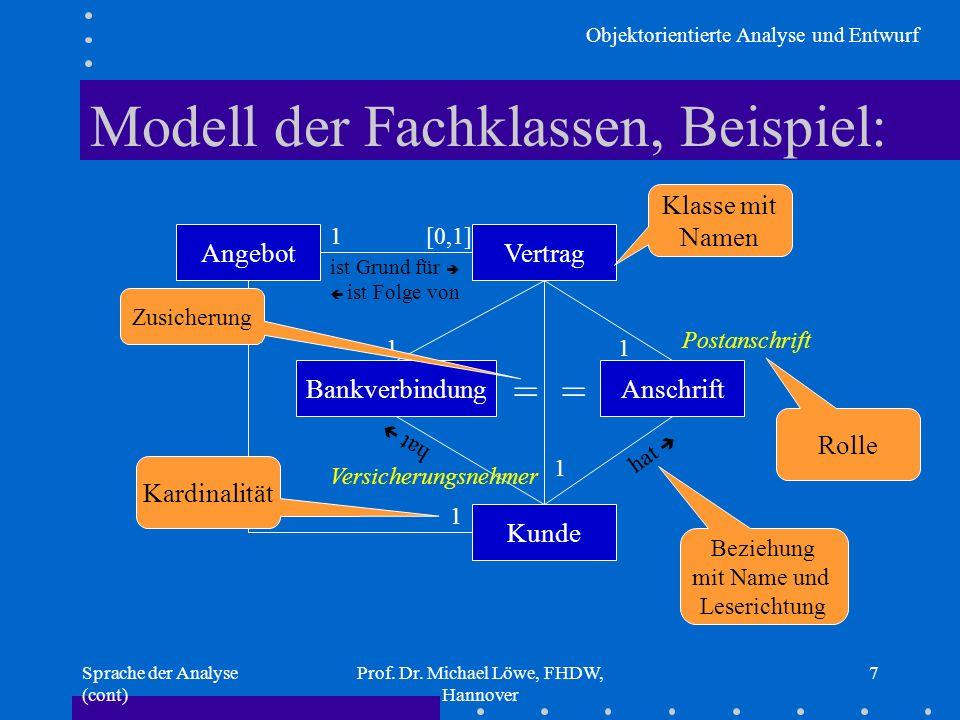 Modell der Fachklassen, Beispiel: