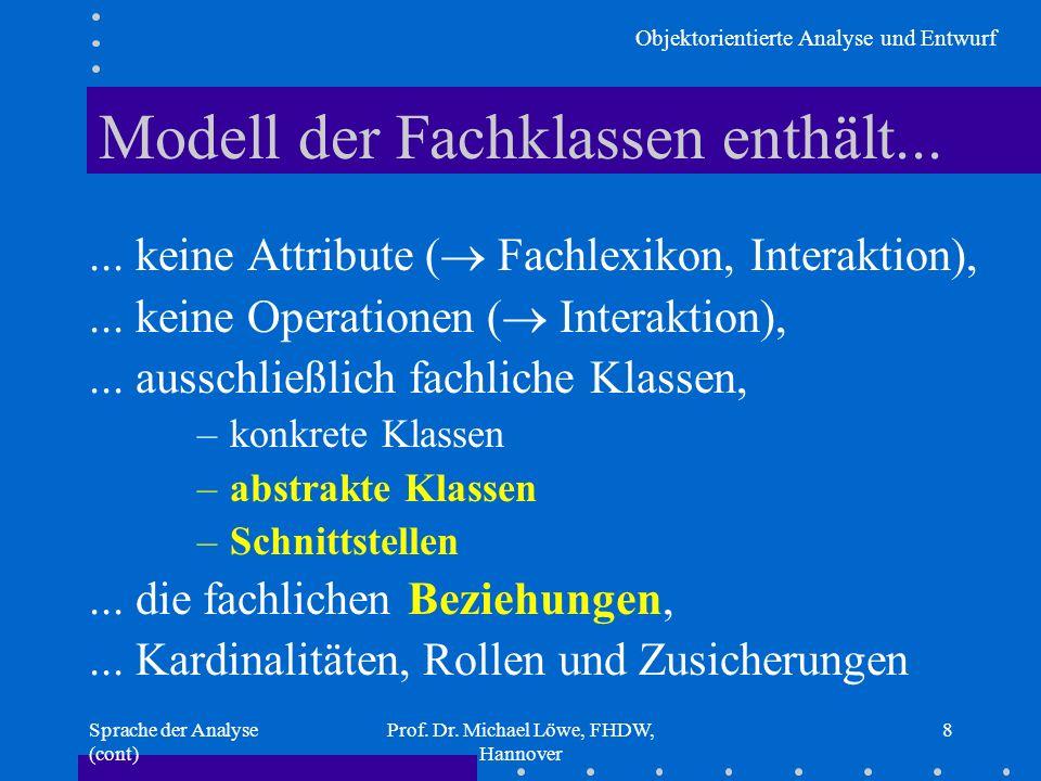 Modell der Fachklassen enthält...