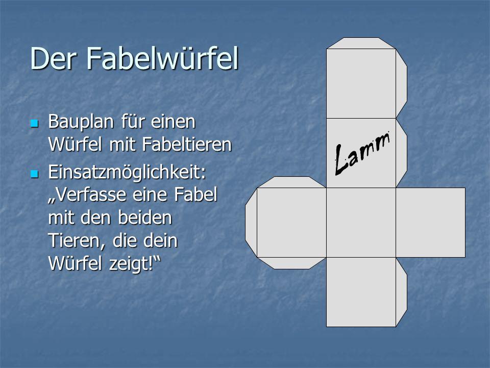 Der Fabelwürfel Lamm Bauplan für einen Würfel mit Fabeltieren