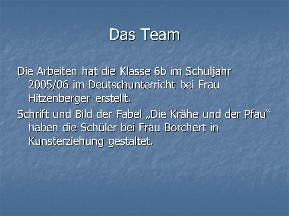 Das TeamDie Arbeiten hat die Klasse 6b im Schuljahr 2005/06 im Deutschunterricht bei Frau Hitzenberger erstellt.