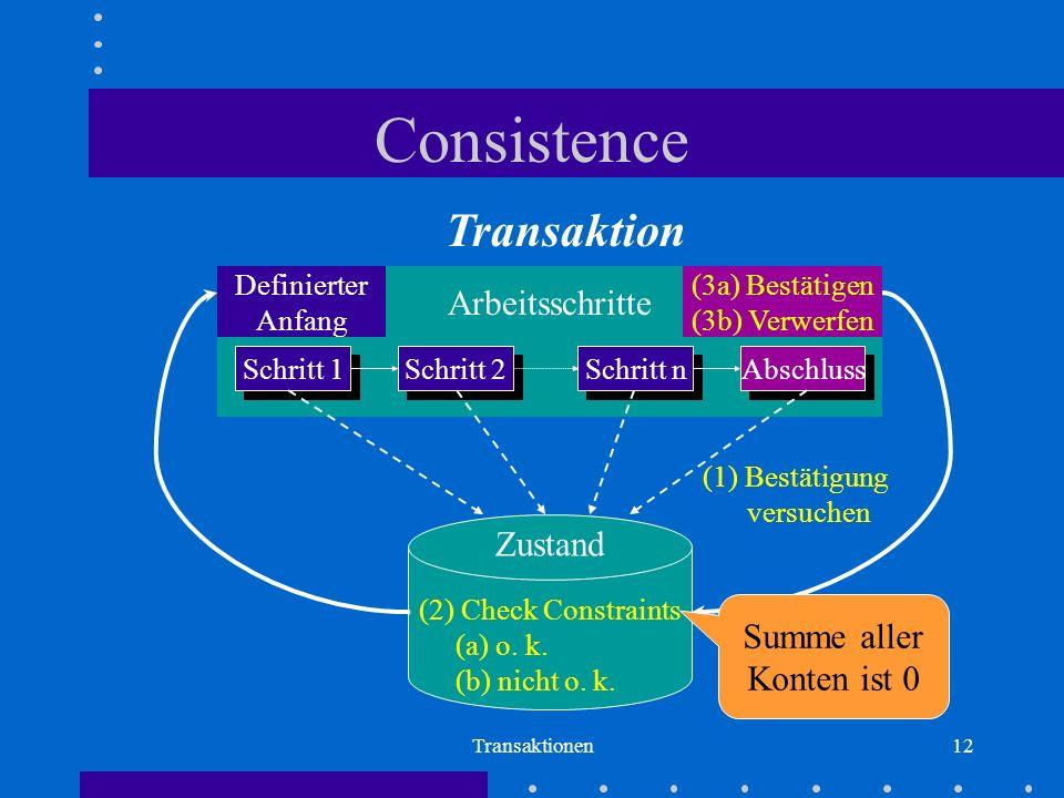 Consistence Transaktion Transition Arbeitsschritte Zustand Summe aller