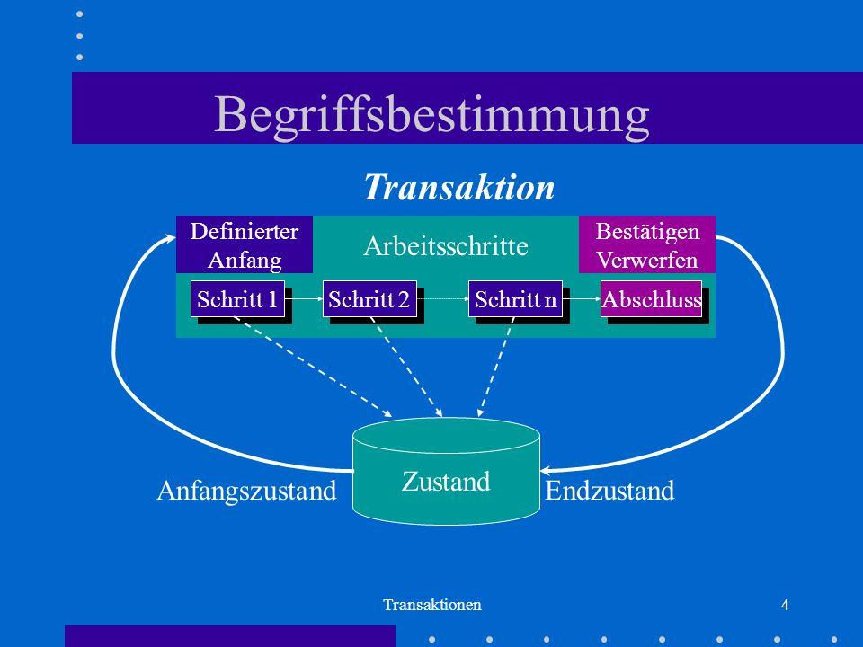 Begriffsbestimmung Transaktion Arbeitsschritte Transition Zustand