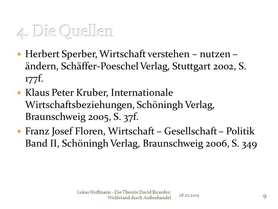 4. Die Quellen Herbert Sperber, Wirtschaft verstehen – nutzen – ändern, Schäffer-Poeschel Verlag, Stuttgart 2002, S. 177f.