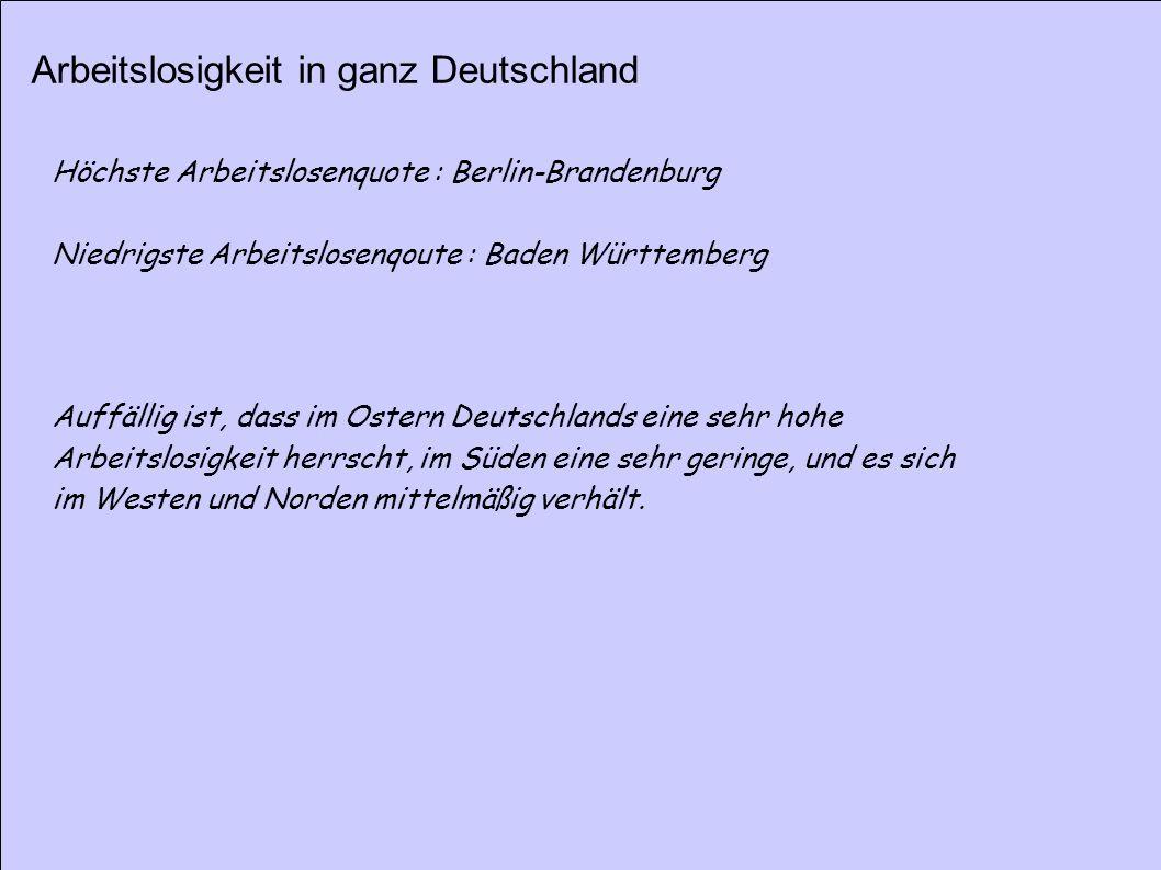 Arbeitslosigkeit in ganz Deutschland