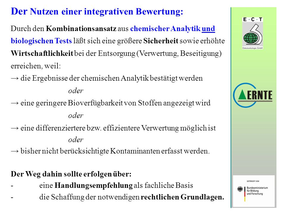 Der Nutzen einer integrativen Bewertung: