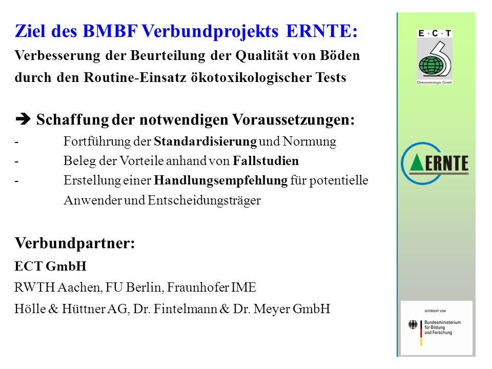 Ziel des BMBF Verbundprojekts ERNTE: