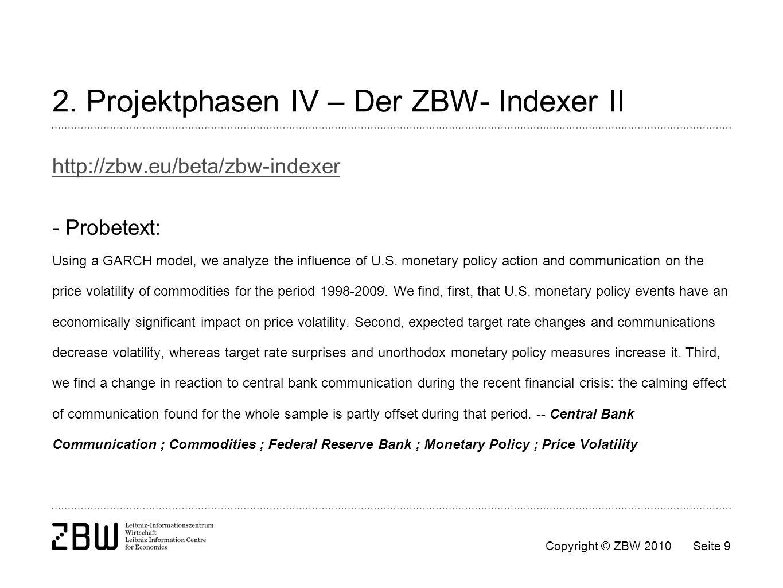 2. Projektphasen IV – Der ZBW- Indexer II
