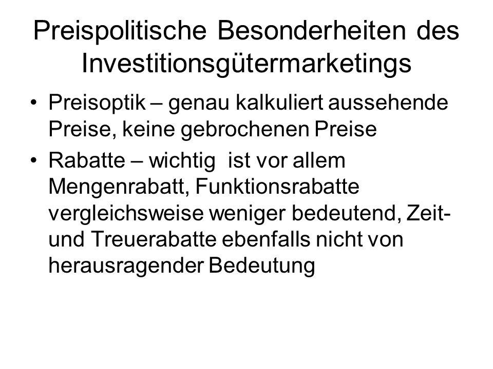 Preispolitische Besonderheiten des Investitionsgütermarketings