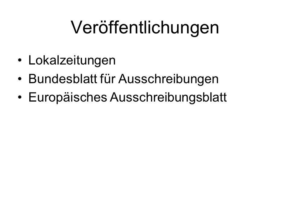 Veröffentlichungen Lokalzeitungen Bundesblatt für Ausschreibungen