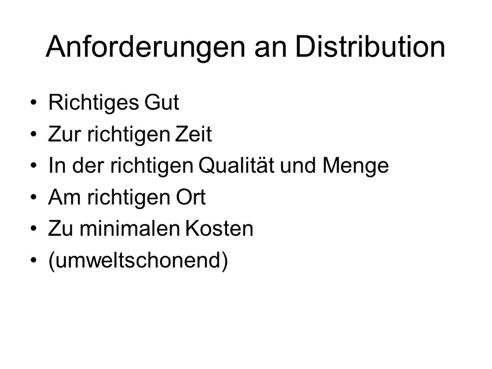 Anforderungen an Distribution