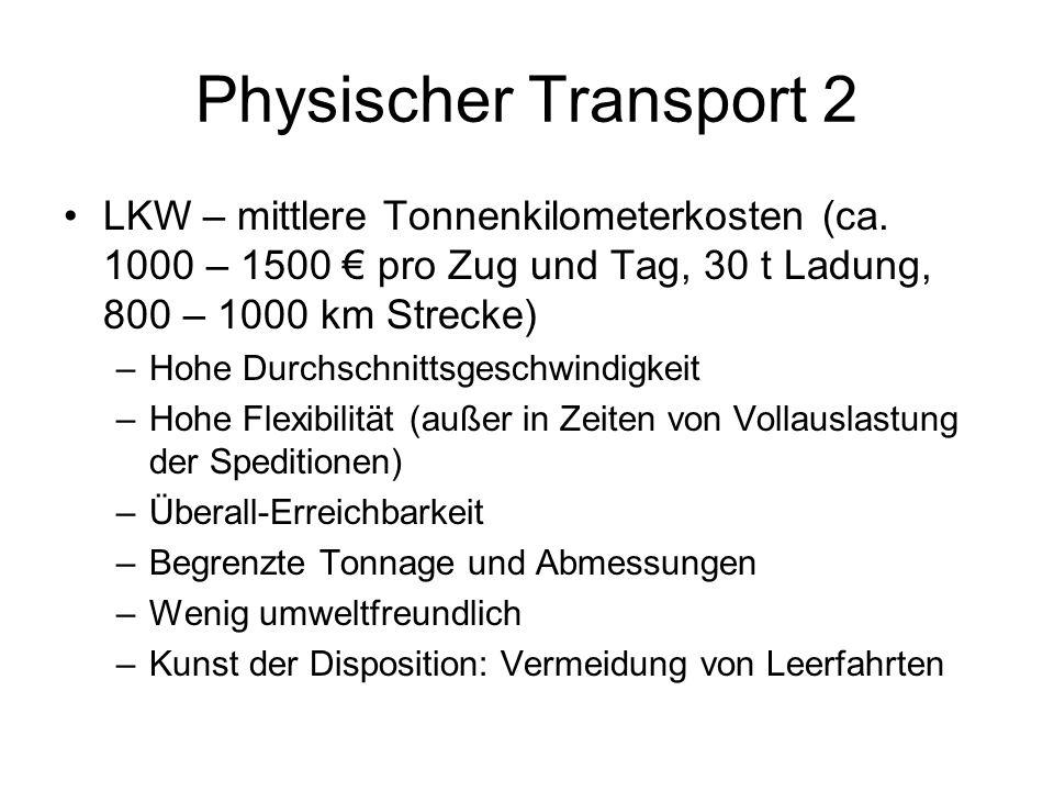 Physischer Transport 2 LKW – mittlere Tonnenkilometerkosten (ca. 1000 – 1500 € pro Zug und Tag, 30 t Ladung, 800 – 1000 km Strecke)