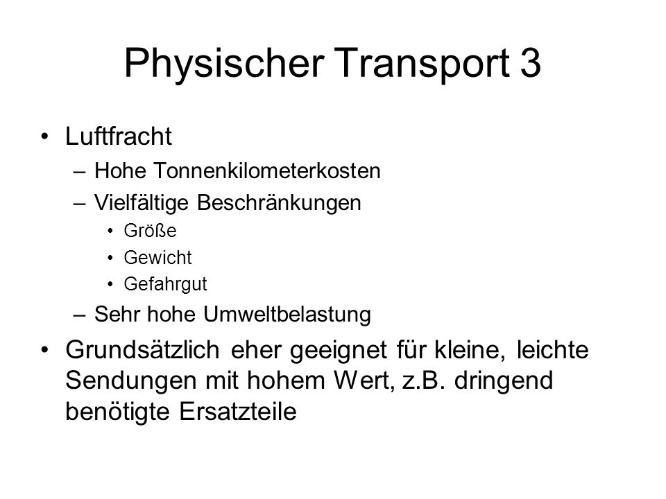 Physischer Transport 3 Luftfracht