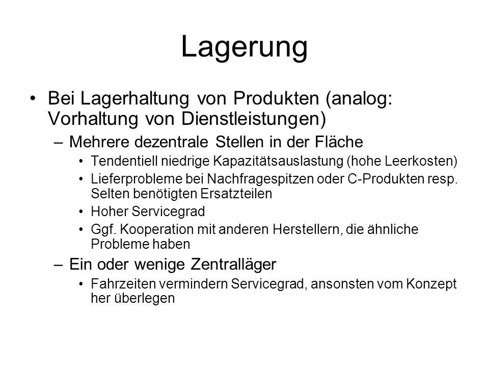 Lagerung Bei Lagerhaltung von Produkten (analog: Vorhaltung von Dienstleistungen) Mehrere dezentrale Stellen in der Fläche.