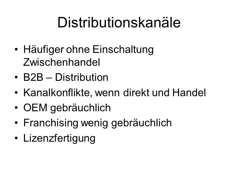 Distributionskanäle Häufiger ohne Einschaltung Zwischenhandel
