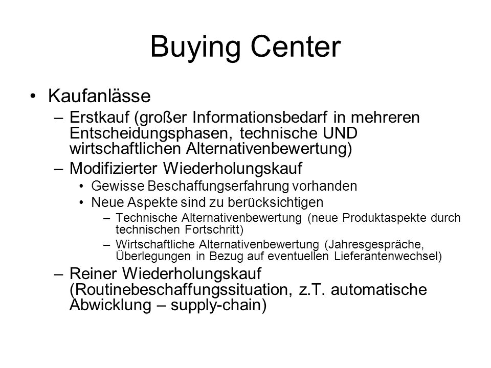 Buying Center Kaufanlässe