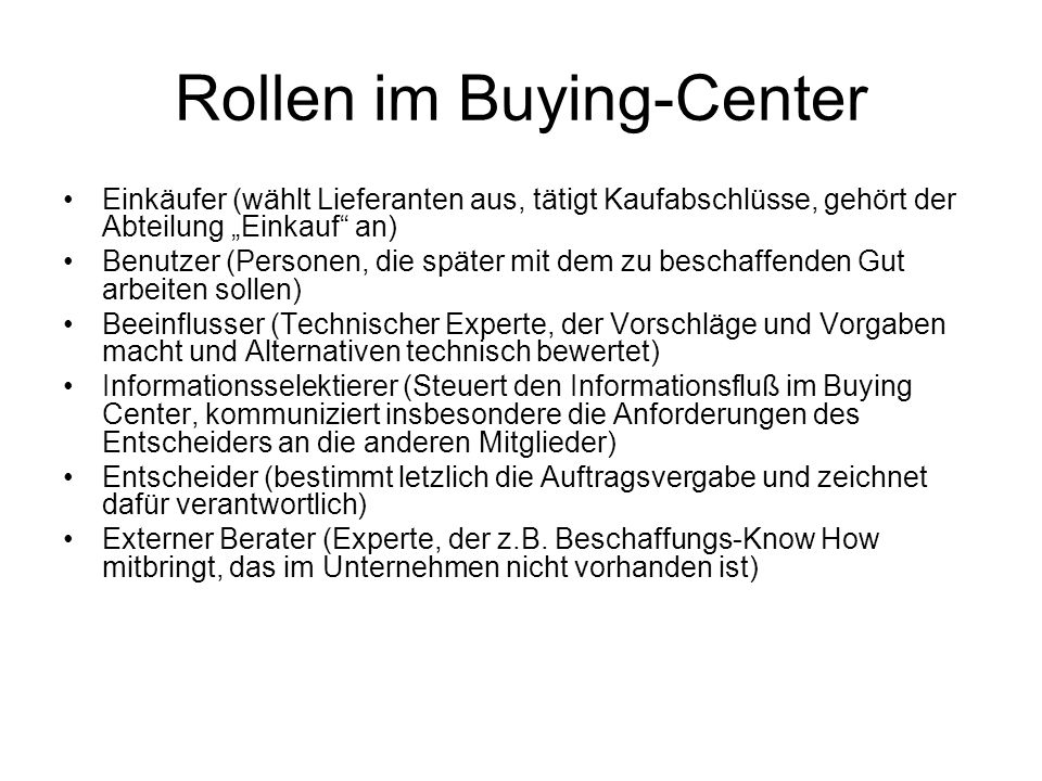 Rollen im Buying-Center
