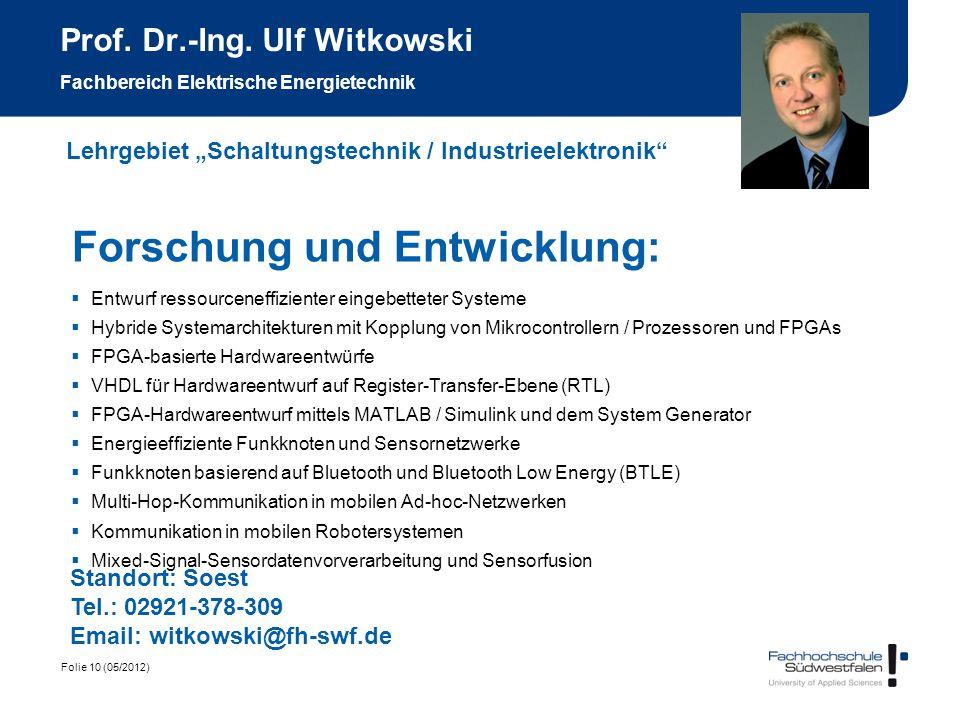 Prof. Dr.-Ing. Ulf Witkowski Fachbereich Elektrische Energietechnik