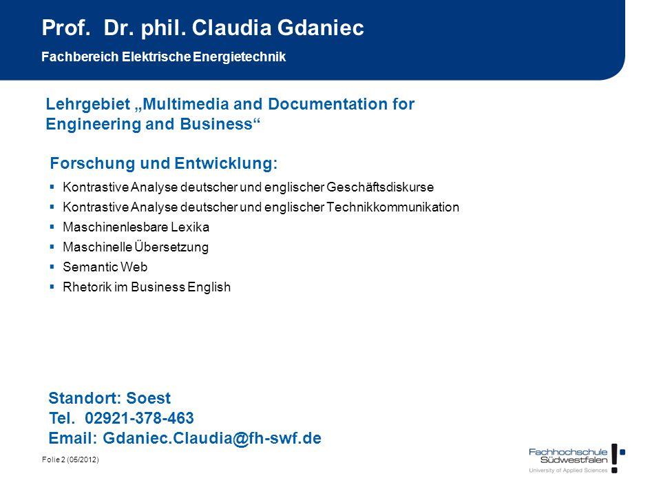 Prof. Dr. phil. Claudia Gdaniec Fachbereich Elektrische Energietechnik