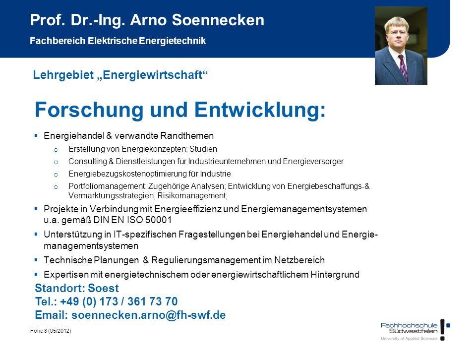 Prof. Dr.-Ing. Arno Soennecken Fachbereich Elektrische Energietechnik