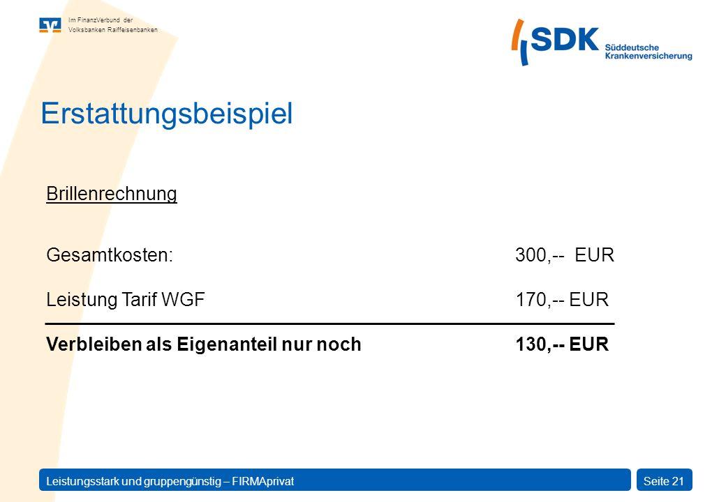Erstattungsbeispiel Brillenrechnung Gesamtkosten: 300,-- EUR
