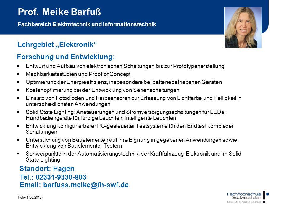 Prof. Meike Barfuß Fachbereich Elektrotechnik und Informationstechnik