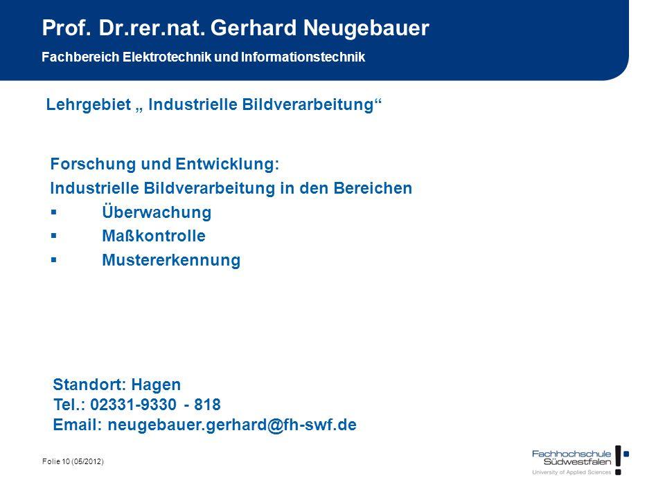 Prof. Dr.rer.nat. Gerhard Neugebauer Fachbereich Elektrotechnik und Informationstechnik