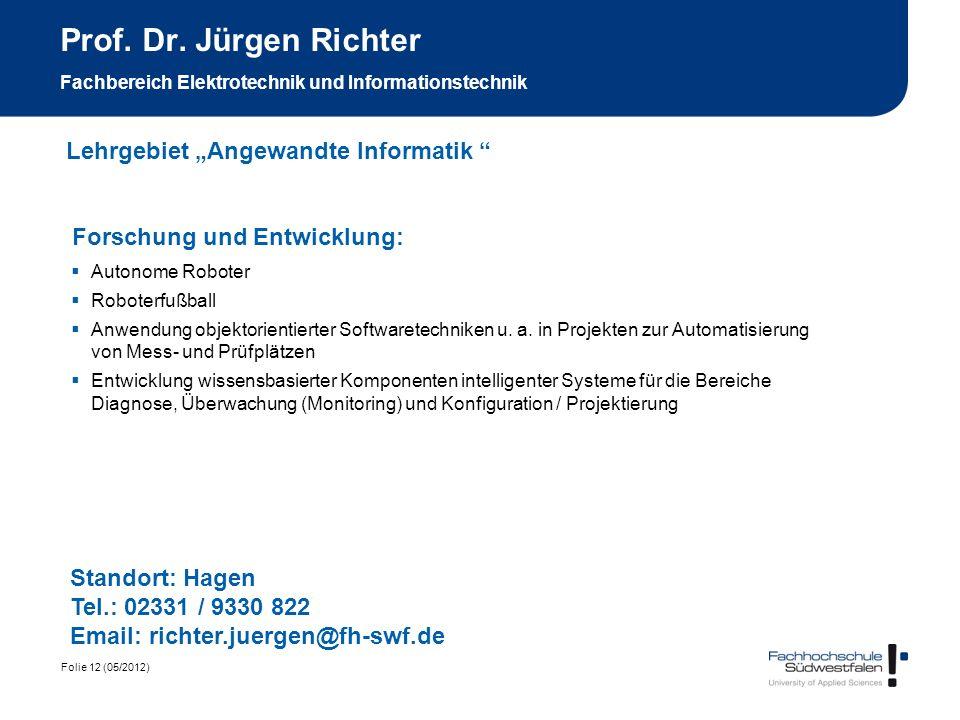 Prof. Dr. Jürgen Richter Fachbereich Elektrotechnik und Informationstechnik