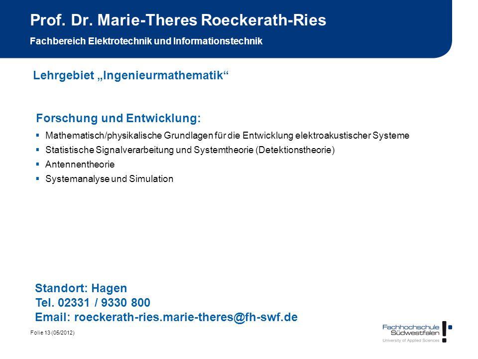 Prof. Dr. Marie-Theres Roeckerath-Ries Fachbereich Elektrotechnik und Informationstechnik