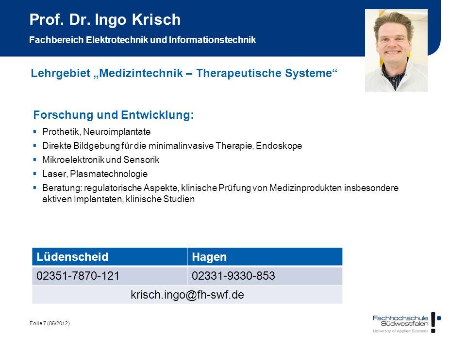 Prof. Dr. Ingo Krisch Fachbereich Elektrotechnik und Informationstechnik