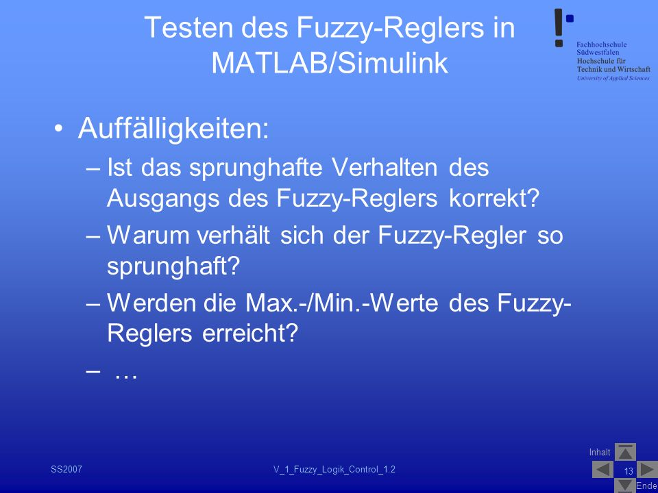 Testen des Fuzzy-Reglers in MATLAB/Simulink