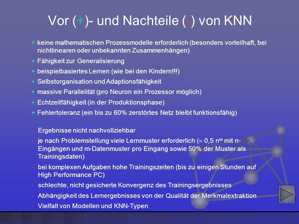 Vor (+)- und Nachteile (-) von KNN