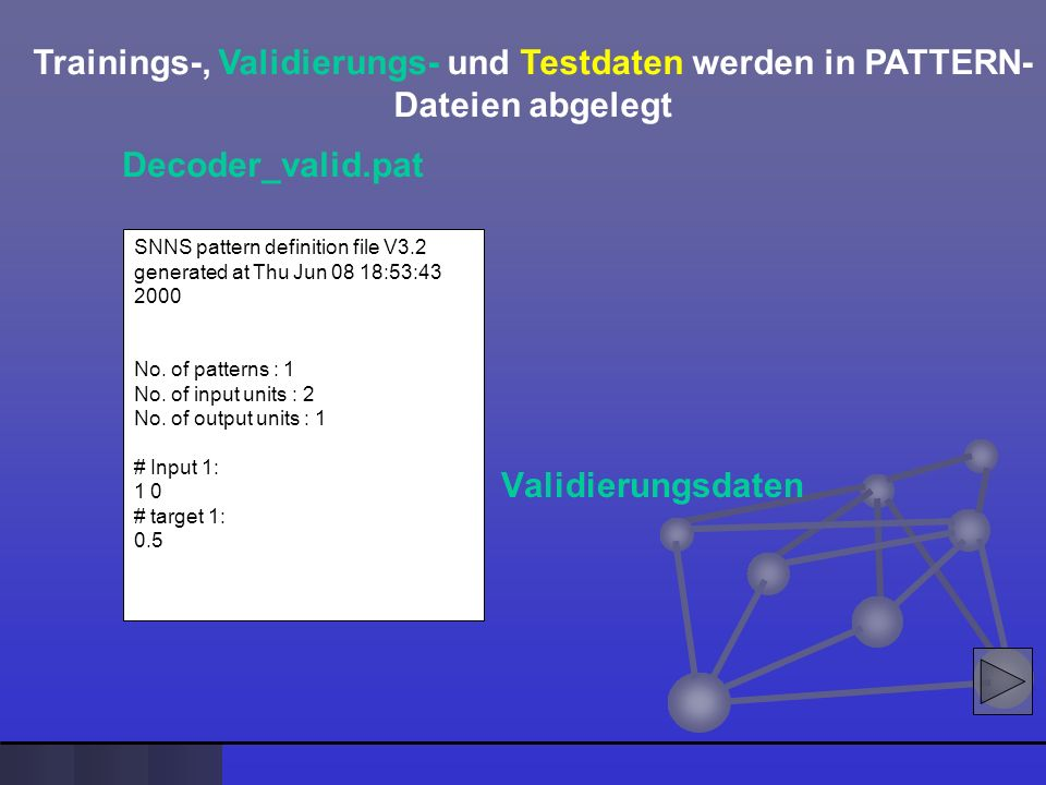Trainings-, Validierungs- und Testdaten werden in PATTERN-