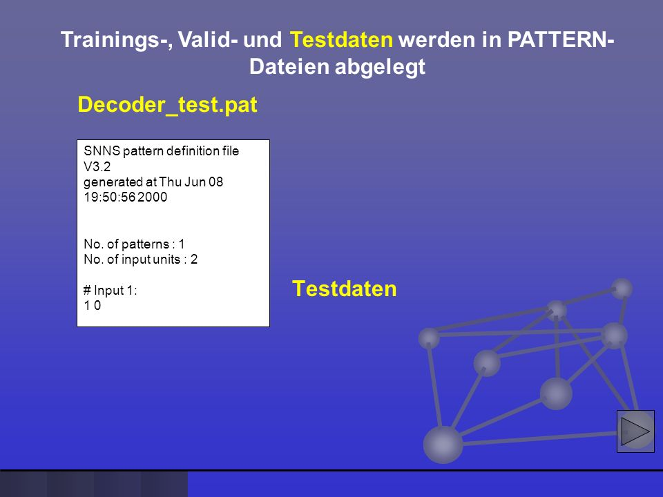 Trainings-, Valid- und Testdaten werden in PATTERN-