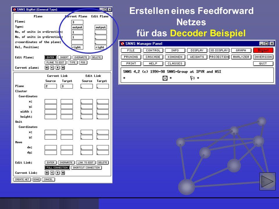 Erstellen eines Feedforward Netzes für das Decoder Beispiel