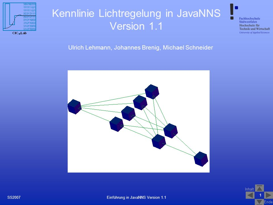 Kennlinie Lichtregelung in JavaNNS Version 1.1