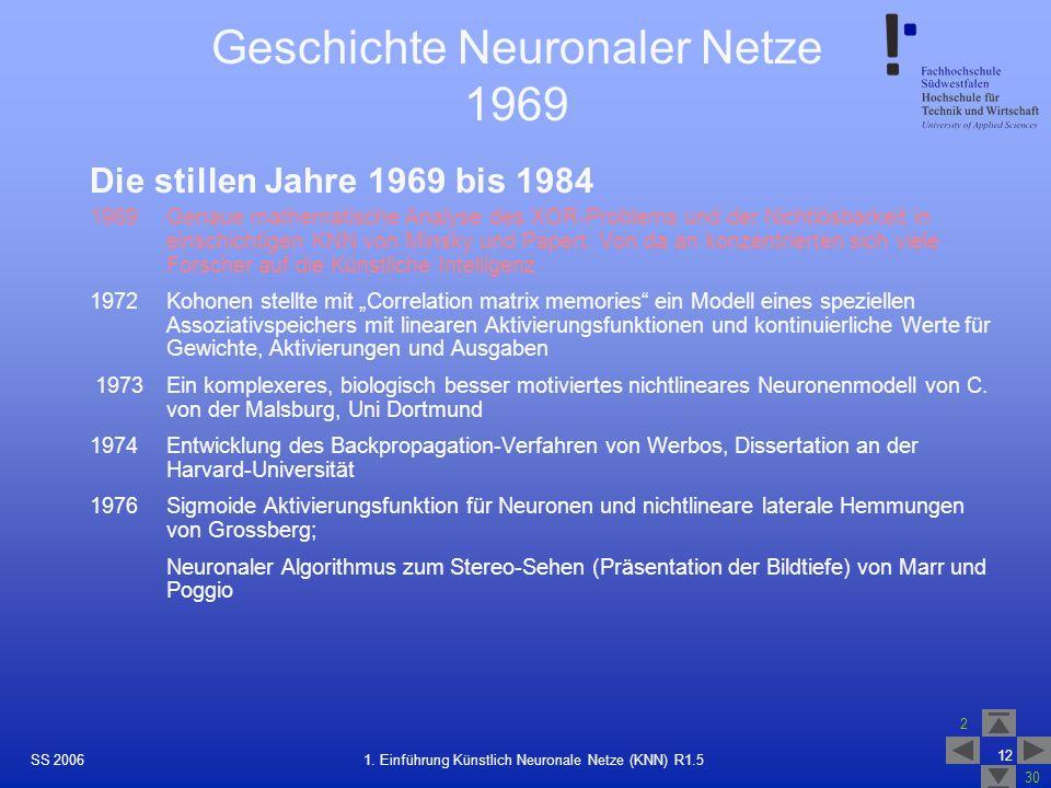 Geschichte Neuronaler Netze 1969
