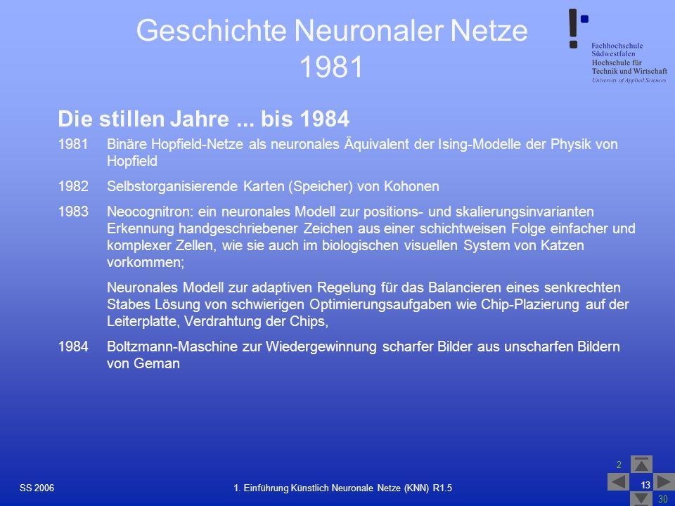 Geschichte Neuronaler Netze 1981