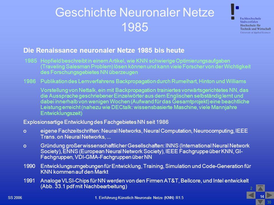 Geschichte Neuronaler Netze 1985
