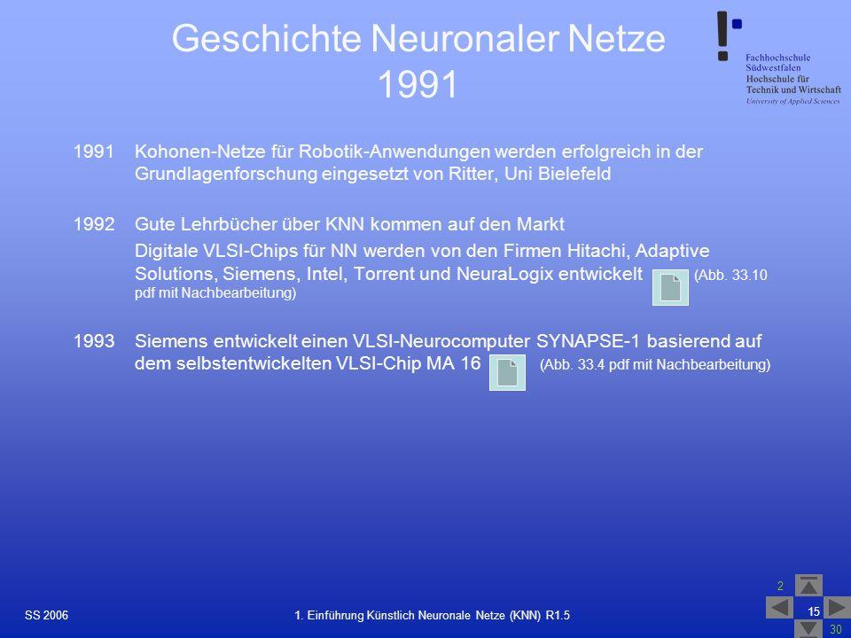Geschichte Neuronaler Netze 1991
