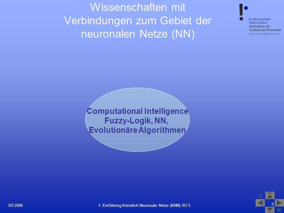 Wissenschaften mit Verbindungen zum Gebiet der neuronalen Netze (NN)