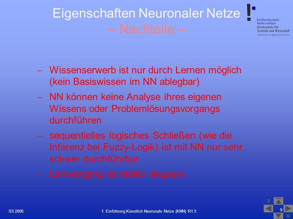 Eigenschaften Neuronaler Netze -- Nachteile --