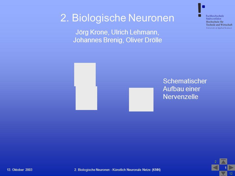 2. Biologische Neuronen Schematischer Aufbau einer Nervenzelle