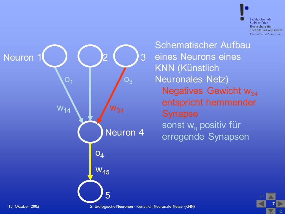 2. Biologische Neuronen - Künstlich Neuronale Netze (KNN)