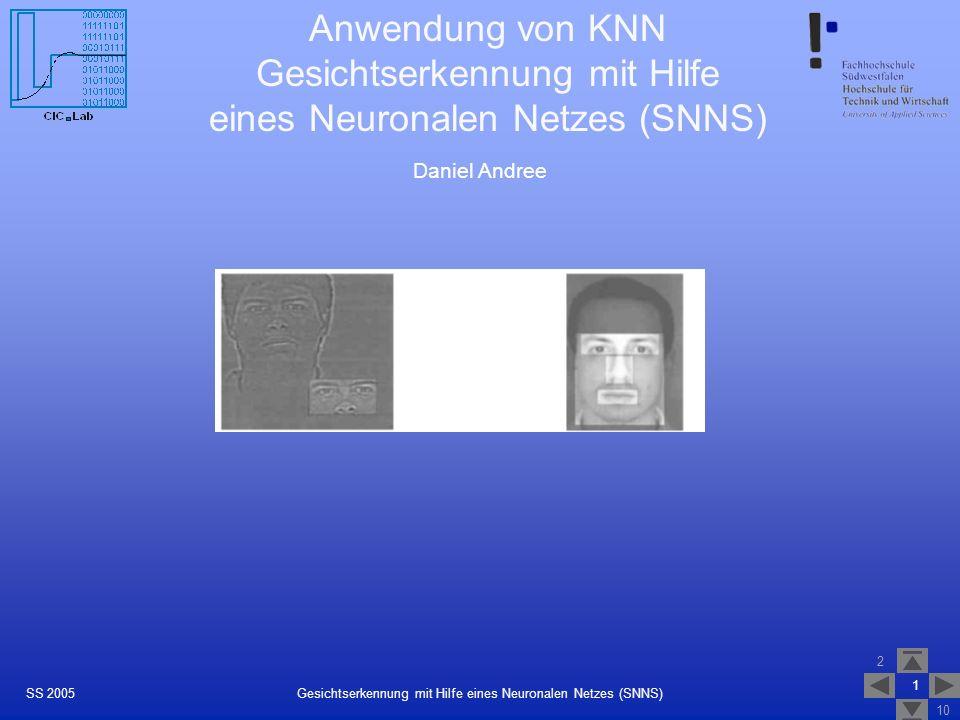 Gesichtserkennung mit Hilfe eines Neuronalen Netzes (SNNS)
