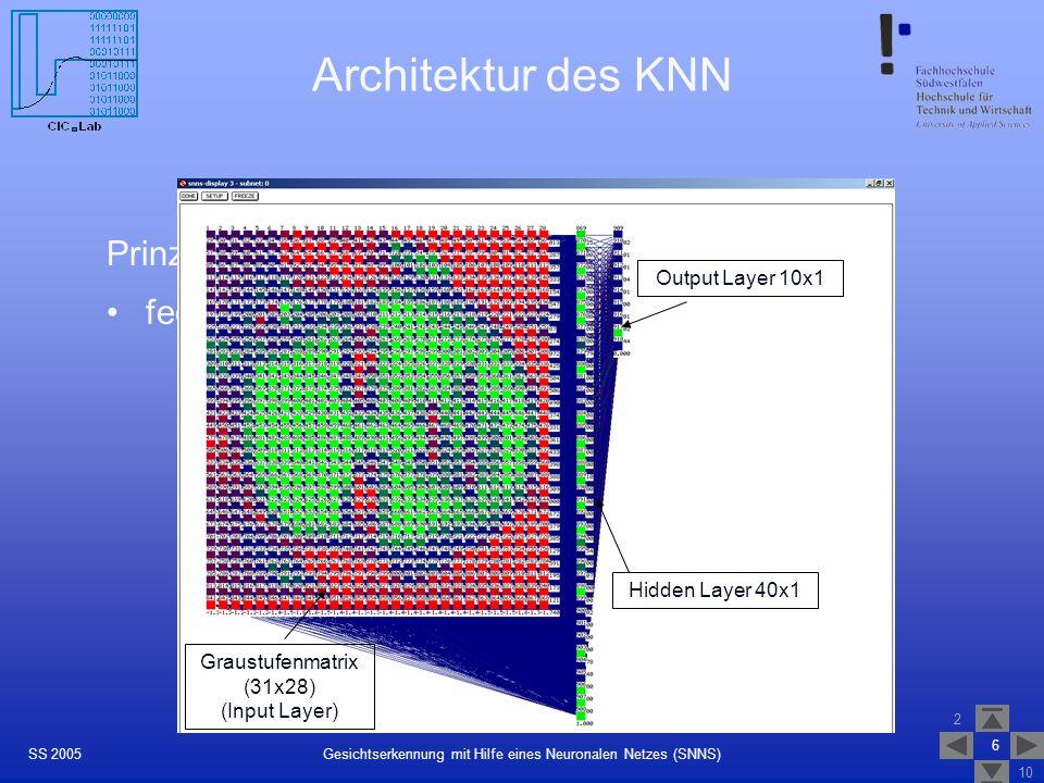 Architektur des KNN Prinzip: feedforward-Netz mit folgender Typologie