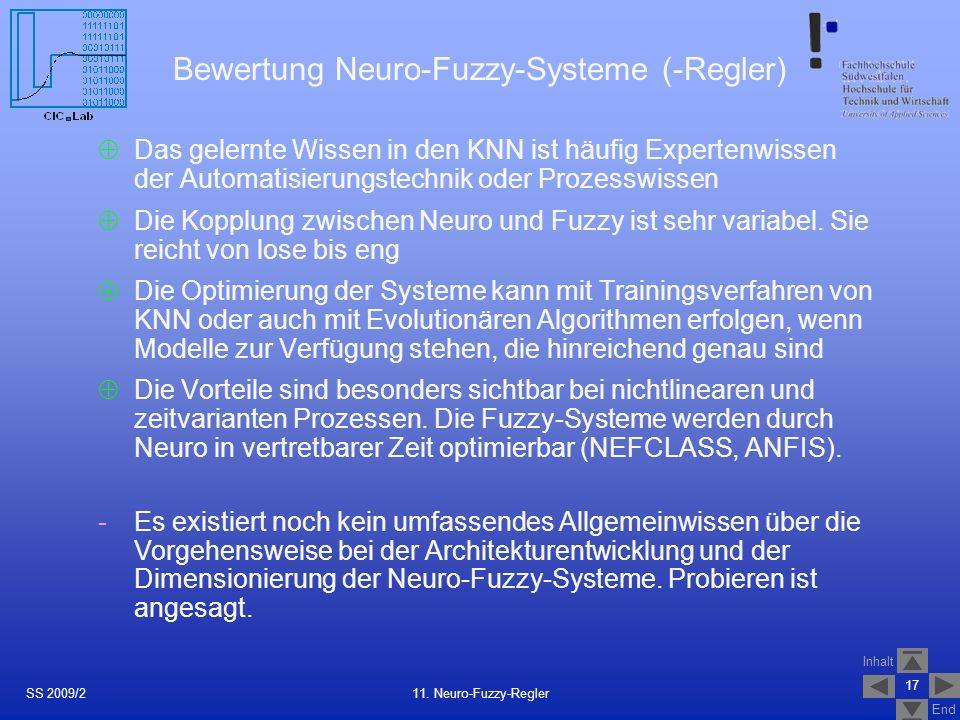 Bewertung Neuro-Fuzzy-Systeme (-Regler)
