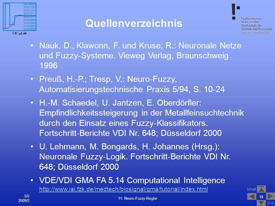 Quellenverzeichnis Nauk, D., Klawonn, F. und Kruse, R.: Neuronale Netze und Fuzzy-Systeme. Vieweg Verlag, Braunschweig 1996.
