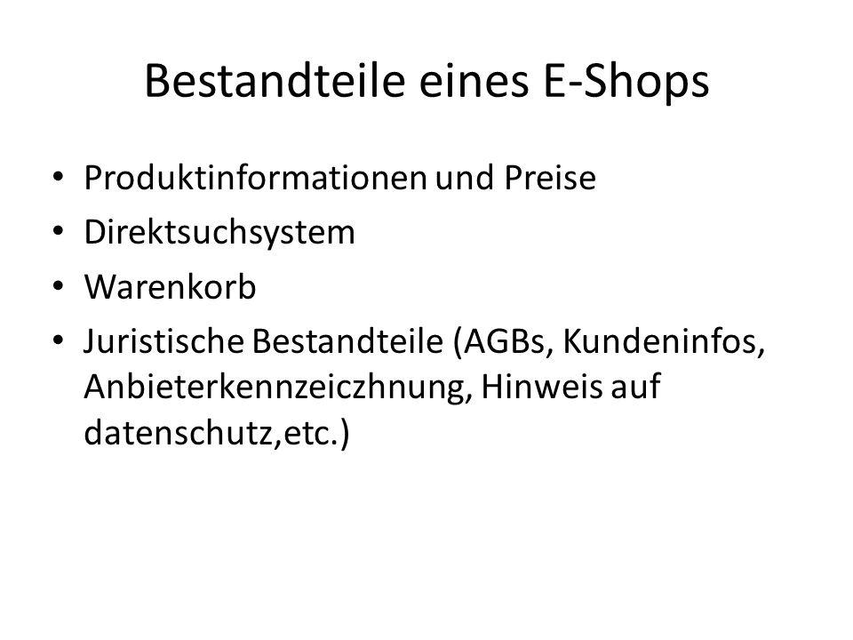 Bestandteile eines E-Shops