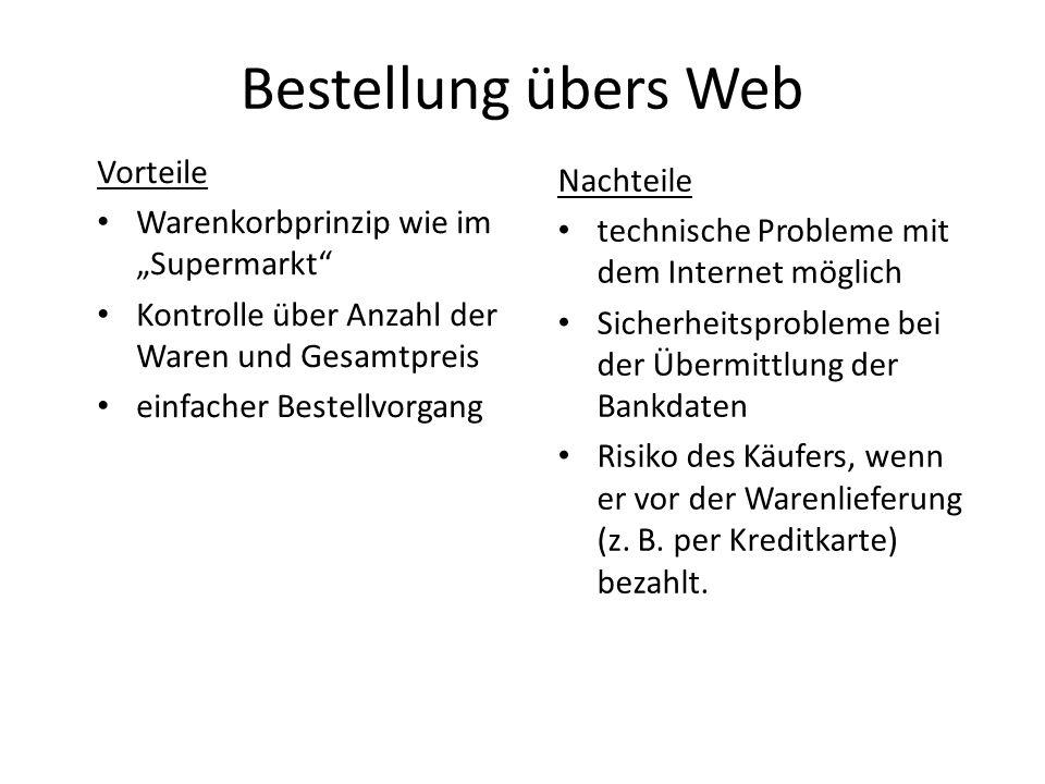 Bestellung übers Web Vorteile Nachteile